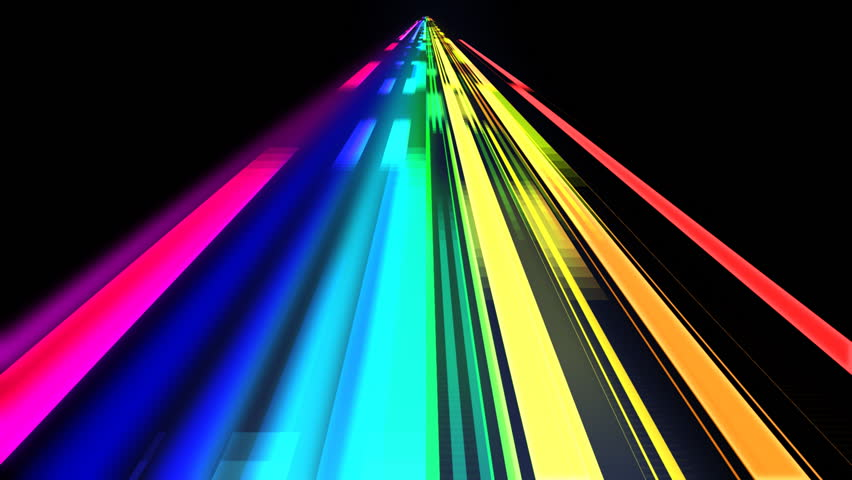 3D Prism With Rainbow Light Flow Through Stock Footage ...