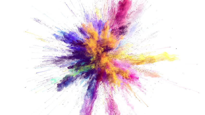 Cg animation of color powder explosion on white background. Slow motion movement with acceleration in the beginning. Has alpha matte #24364178