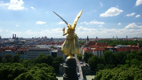 Angel of Peace aerial footage/Aerial closeup from the back of the famous Angel of Peace in Munich shot in UHD.