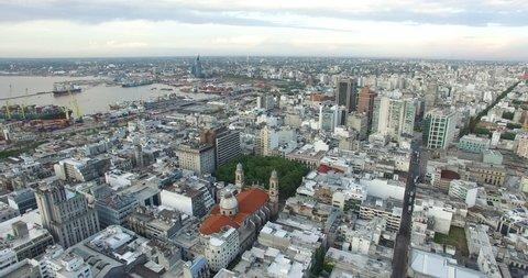Backwards aerial drone shot of Montevideo, Uruguay