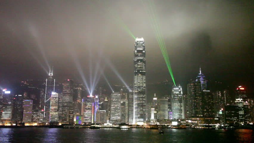 View of Hong Kong's amazing skyline and lightshow