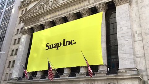NEW YORK CITY, NY- March 2, 2017: Snapchat's Snap Inc. makes IPO debut on the New York Stock Exchange. Investors flocked to initial public offering, pushing valuation of nearly $24 billion. 1280x720
