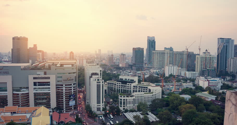 BANGKOK - February 27: 4k Time lapse view of Bangkok skyline at sunset on february 27, 2017 in Bangkok, Thailand | Shutterstock HD Video #24493688