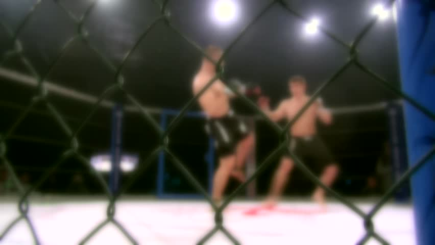 Athletes in the ring extreme Sport mixed martial arts competition tournament series MMA. Octagonal ring for fights. Blurred.