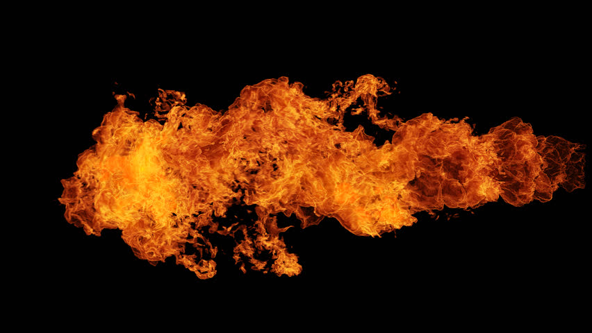 Fire ball explosion shooting with high speed camera, isolated fire flame, slow motion gas ignition from right to left, isolated on black background, perfect for digital composition, video mapping.