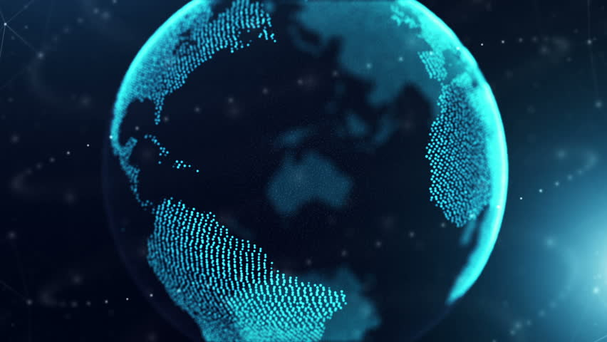 Digital Globe Network Zoom Out. a digital earth zooms out and spins with dots connecting and circling the globe. Networking and future  | Shutterstock HD Video #24509318