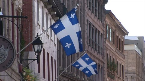 View of Quebec Flags in Montreal Canada