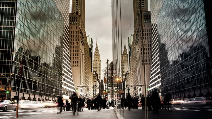 Facing East on W 42nd St in NYC - Day to Night Time lapse