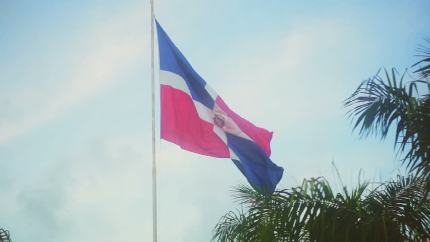 View from a bus on the flag of the Dominican Republic among the palms