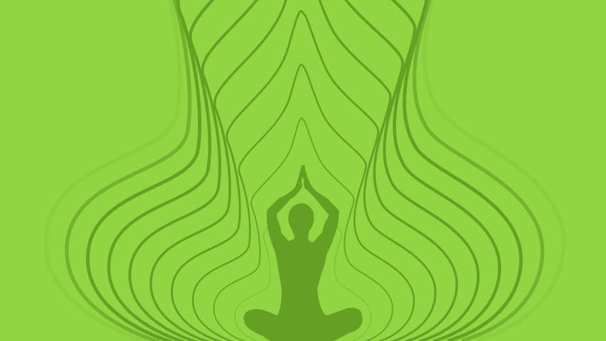 Animation of Silhouette person in yoga meditative position with energy waves over green background. Cartoon Yoga background seamless loop with space for your logo or text