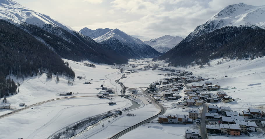 Aerial view of Livigno alps ski resort in winter, Lombardy, Italy