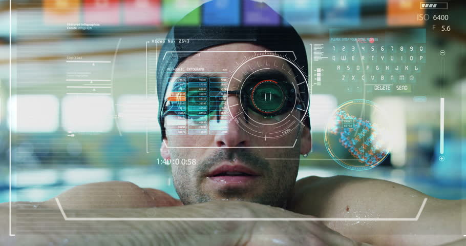 Professional swimmer leaning at the poolside in an Olympic pool looks in the chamber and appear in the technological holography graphics.Concept:sport,augmented reality, futuristic vision of swimming