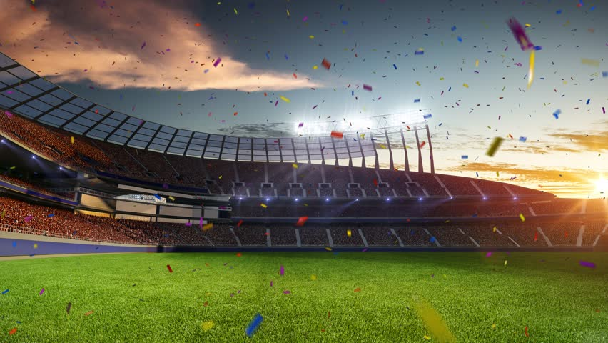 stadium Moving lights, animated flash  with people fans. 3d render illustration cloudy sky. Confetti and tinsel #24593528