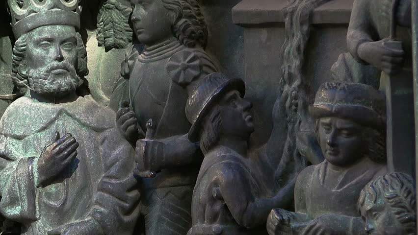 Bas-relief of the king and his subjects in Stockholm. Sweden.