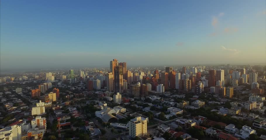 Barranquilla Colombia Sunset Cityscape Aerial 03.mov
