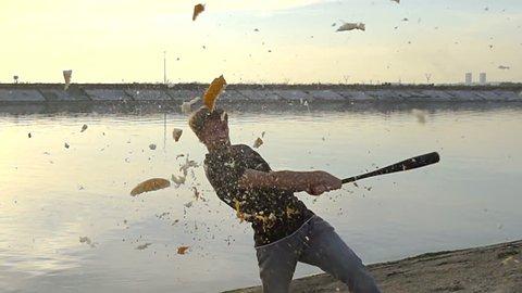 1 guy hit fruit bat slow motion. Man break vegetable piece. Baseball with tomato and orange slowmotion. The explosion of juicy melon slo mo. Hardball with egg rapid. Food shatter piece slomo.