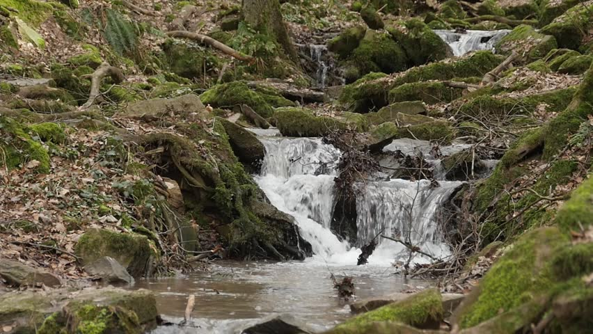 A slow motion shot of a river flow / waterfall in the Margarethenschlucht. Located in Germany, , in the Neckar Odenwald district. | Shutterstock HD Video #24655418