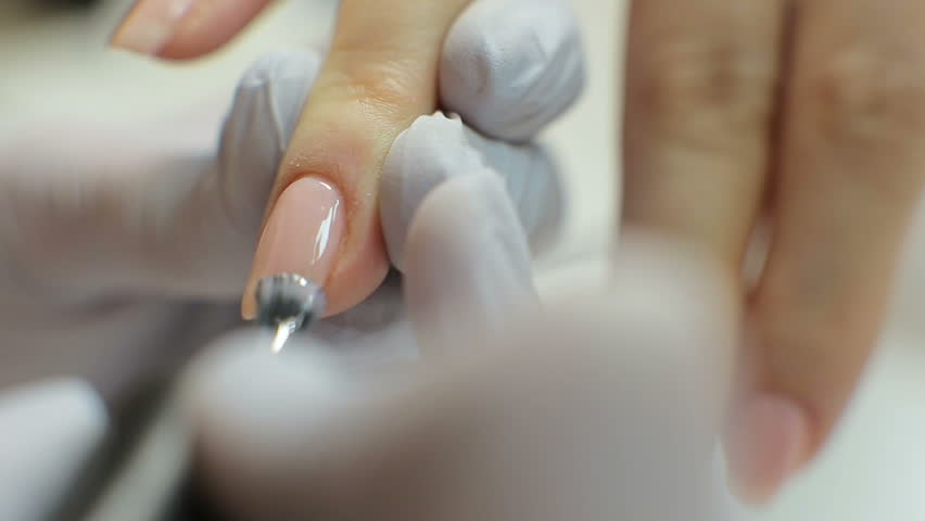 Nail Care And Manicure. Closeup Of Beautiful Female Hands Applying ...