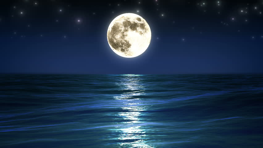 Sea and Full Moon. Night Sky with Flashing Stars. Beautiful Relaxing Looped Animation. HD 1080.