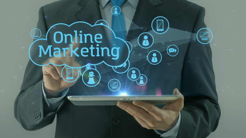Business man pointing on line online marketing market concept tablet pad | Shutterstock HD Video #24707108