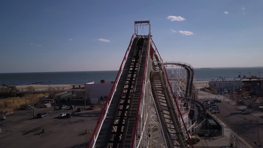 Flying around Cyclone roller coaster in Coney Island