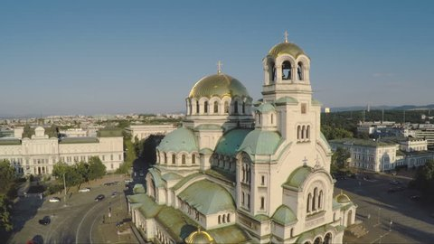 Sofia Bulgaria. Aerial footage of cathedral St. Alexander Nevsky . The largest church in the Balkans designed by Russian architect prof. Pomerantzev Alexander.