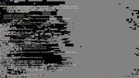 A source code scrolling animation, white characters black background, badly damaged by frequent glitches. A glitch is a minor malfunction, mishap, or technical problem. It can have an artistic value.
