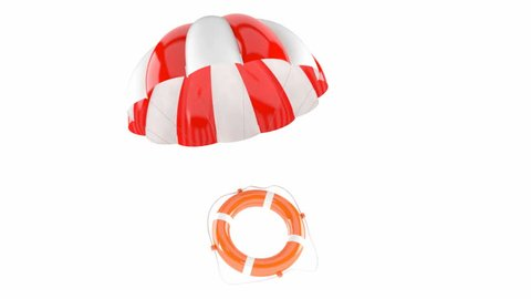 Life buoy with parachute isolated on white background