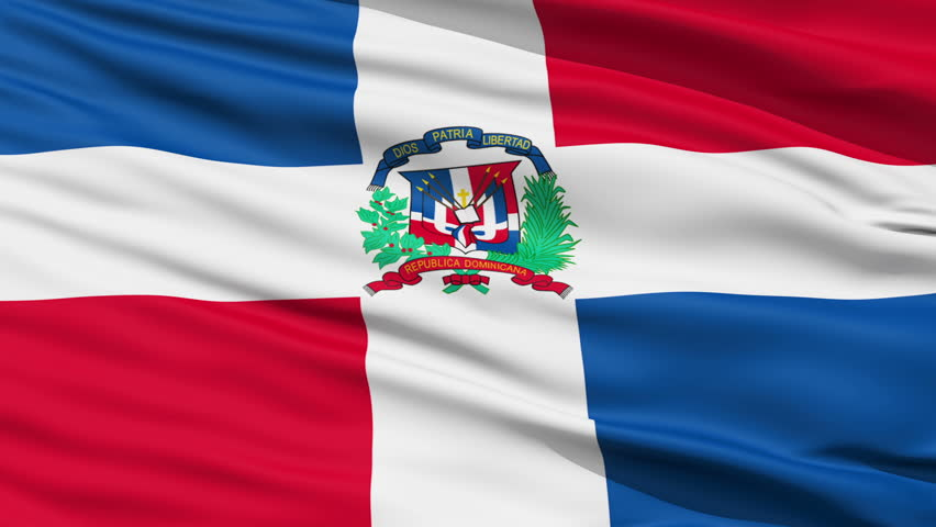 Closeup cropped view of a fluttering national flag of Dominican