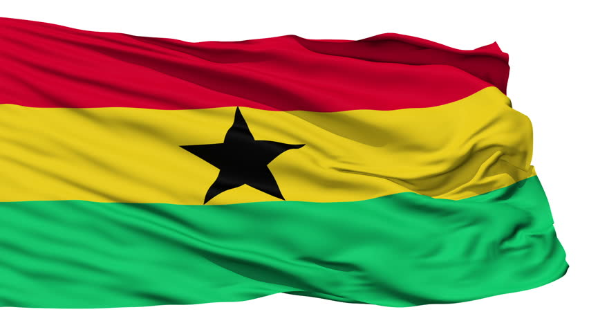 Animation of the full fluttering national flag of Ghana isolated on white