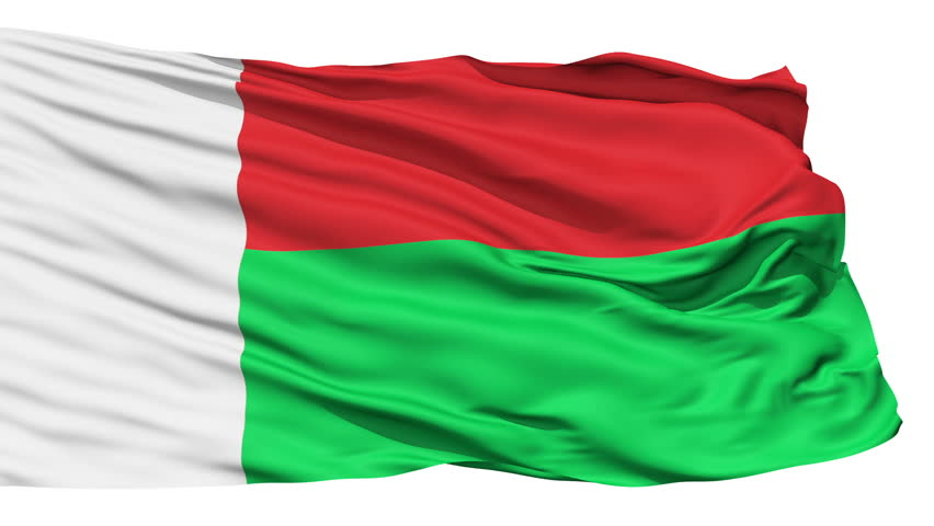 Animation of the full fluttering national flag of Madagascar isolated on white