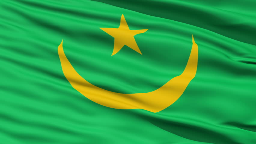 Closeup cropped view of a fluttering national flag of Mauritania