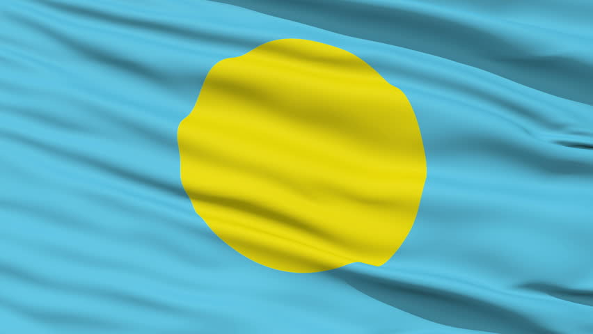 Closeup cropped view of a fluttering national flag of Palau