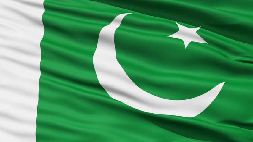 Closeup cropped view of a fluttering national flag of Pakistan