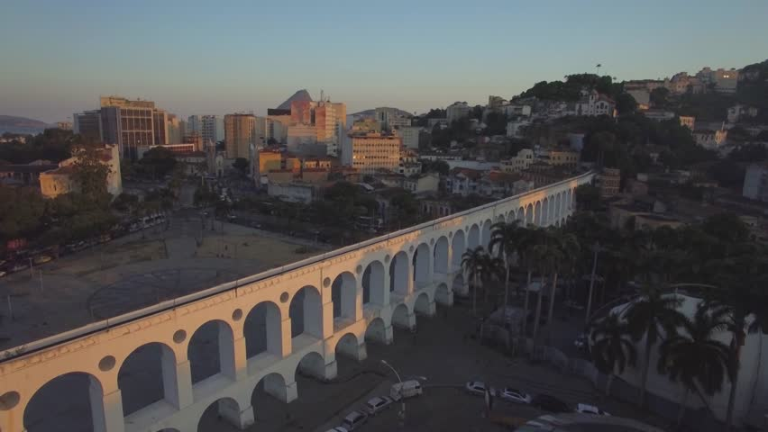 Rio de Janeiro Aerials: Flying over the Arches of Lapa at sunset