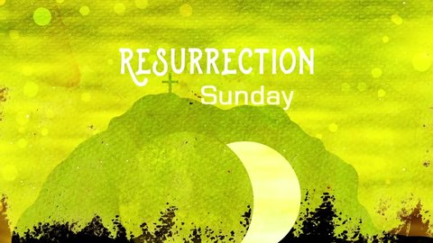 Easter Resurrection Text With Open Tomb Of Jesus.