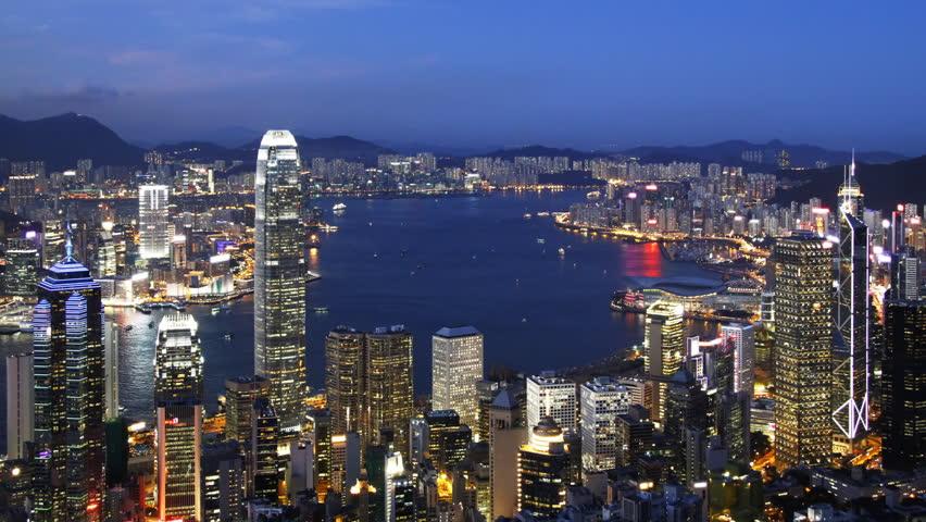 Blue Night in Hong Kong - Central District, Victoria Harbor, Hong Kong Island and Kowloon, Hong Kong. | Shutterstock HD Video #2493896