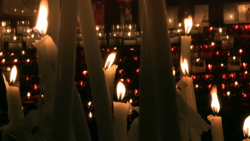 Prayer candles in Sarah Kali shrine patron saint of gypsy people