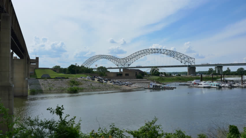 A Vivid Cinematic Tracking Shot Of The Famous Memphis Bridge With Its Double Arch Structure On