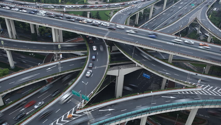 Time Lapse Aerial View Chinese Shanghai Busiest Highway, Freeway, Motorway, Busy Urban City Transportation Interchange, Heavy Traffic Jam Congestion, Rush Hour, Cars Passing Incoming Outgoing Driving | Shutterstock HD Video #2498648