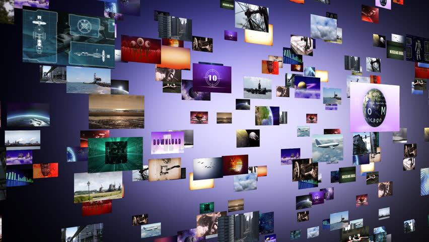 Flight through animated video wall