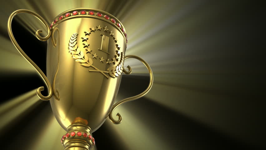 Award winning and championship concept: seamless loop golden glowing trophy cup on black background