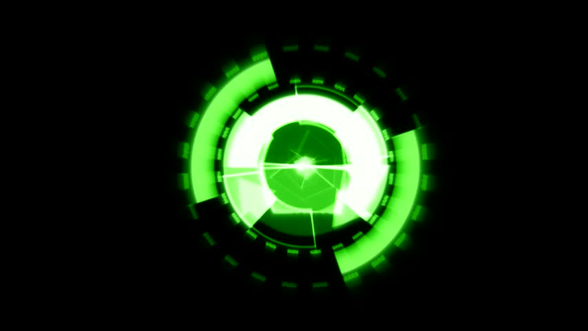 Arrow Interface Data Loader Green Glow Circular Round with Light Rays and Alpha Channel.