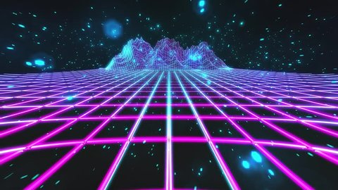 80`s retro future style gaming cycled background with particles and mountains