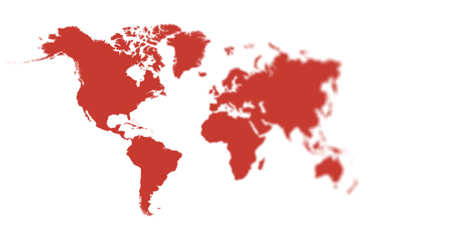 Red World Map 4K Animation With Depth Of Field Saved With Alpha Channel