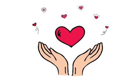 Hand drawn cartoon style doodle Donation symbol icon - open hands with beating hearts. Sketch charity animation.Cartoon donate elements: heart, human hands, care, help, gift, giving hand, fund raising