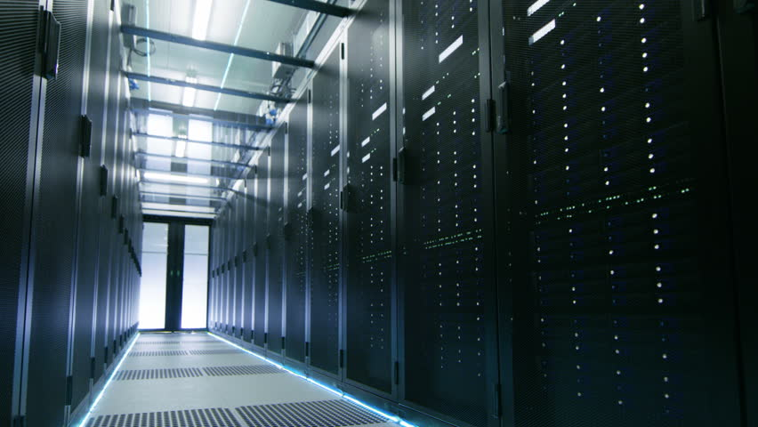 Camera Walk-Through Shot of a Working Data Center With Rows of Rack Servers. Shot on RED EPIC-W 8K Helium Cinema Camera. #25116938