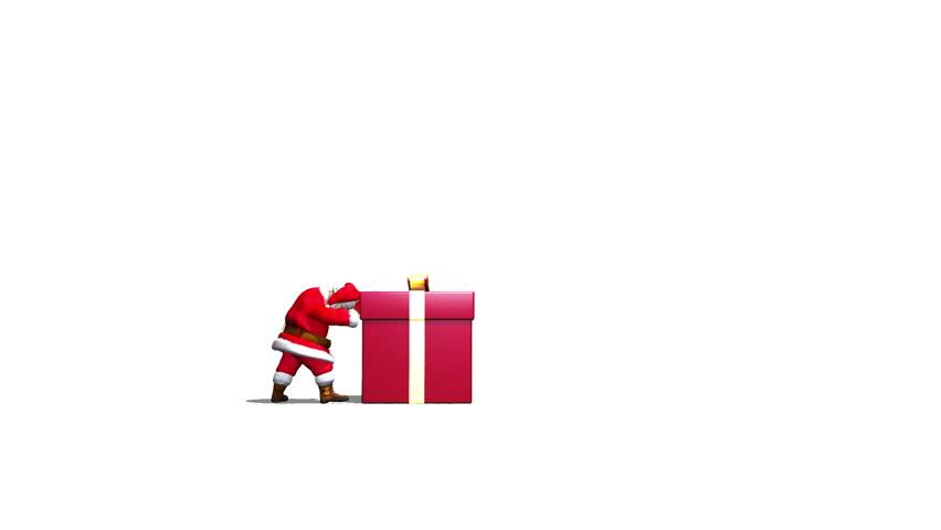 Santa pushes a Gift Box into camera