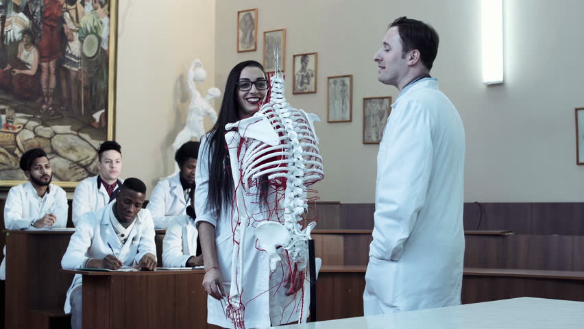 Video clip of young woman student weared eyeglasses in anatomy class with teacher and skeleton dummy. 4K middle shot   Shutterstock HD Video #25129628