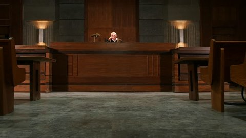 Court room scene with lawyers during trial